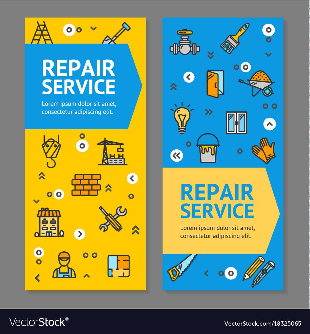Home Repair Flyer Banner Posters Card Set