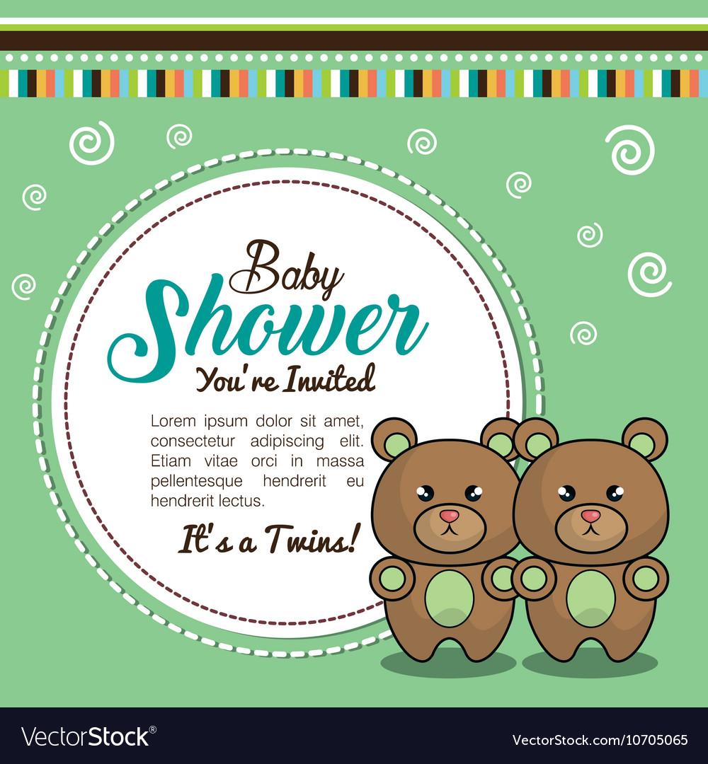 Invitation Baby Shower Twins Boy Bear Royalty Free Vector