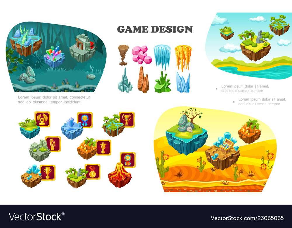 Isometric Game Design Elements Composition Vector Image