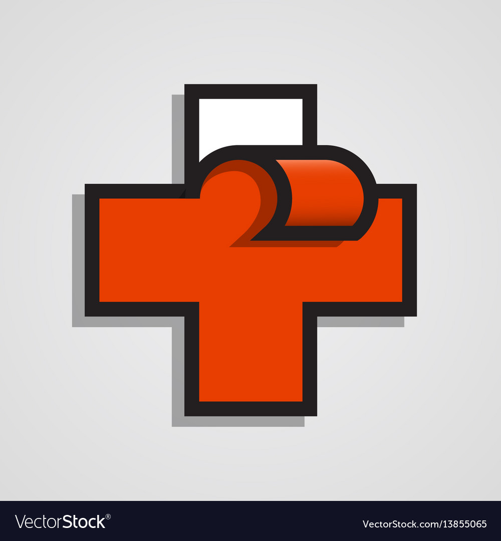 Pharmacy abstract red cross clean vector image