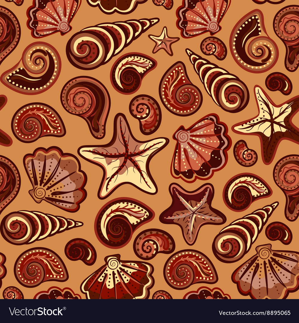 Seamless pattern with sea shells and starfish in