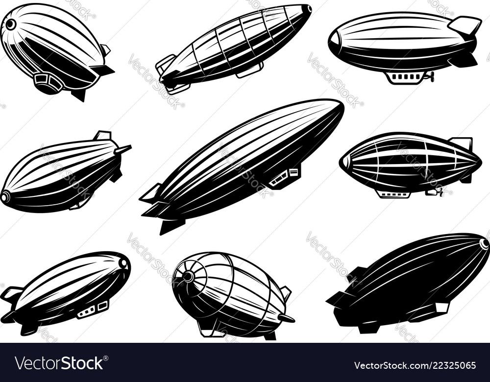 Set air balloons zeppelin design element
