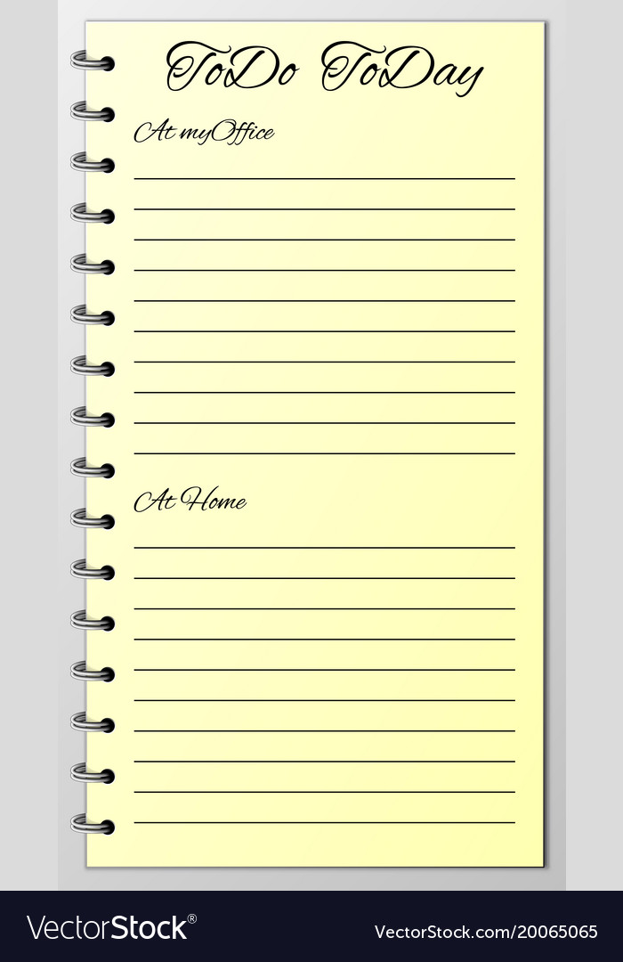 things to do list today royalty free vector image
