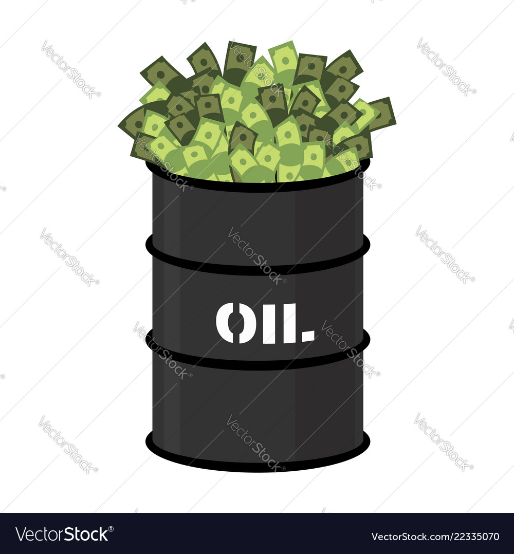Barrel of oil and money barrel and cash