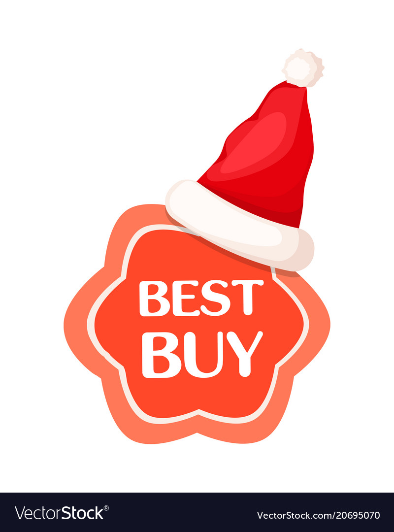 best buy discount label with santa claus hat vector image - Best Buy Hours Christmas Eve