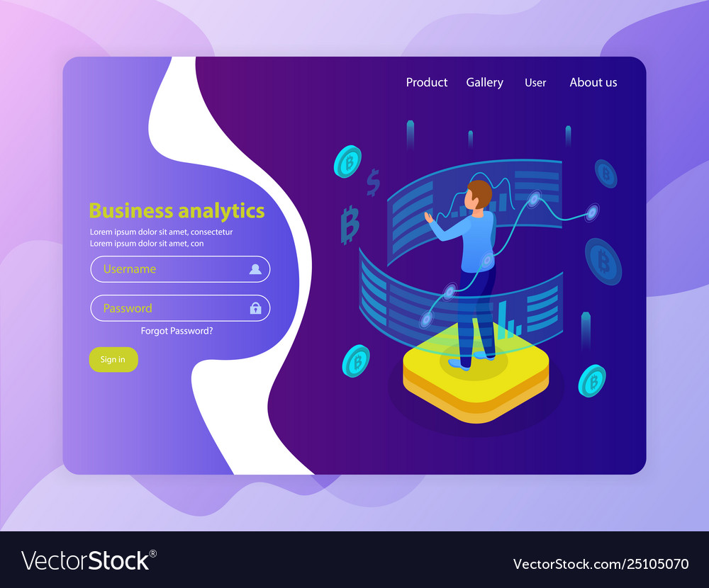 Business analytics isometric website