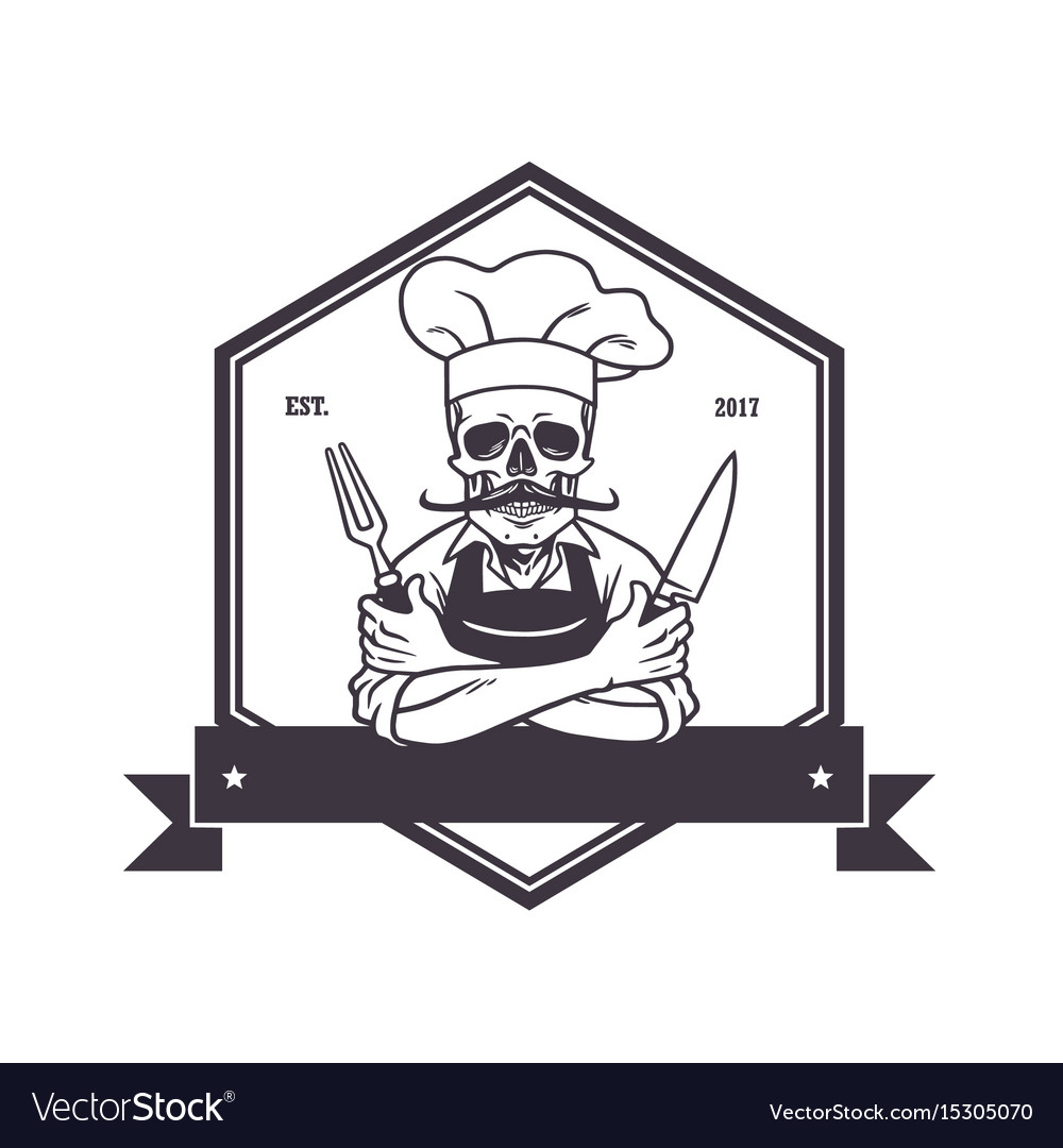 Dead skull chef grinning with fork knive and hat vector image