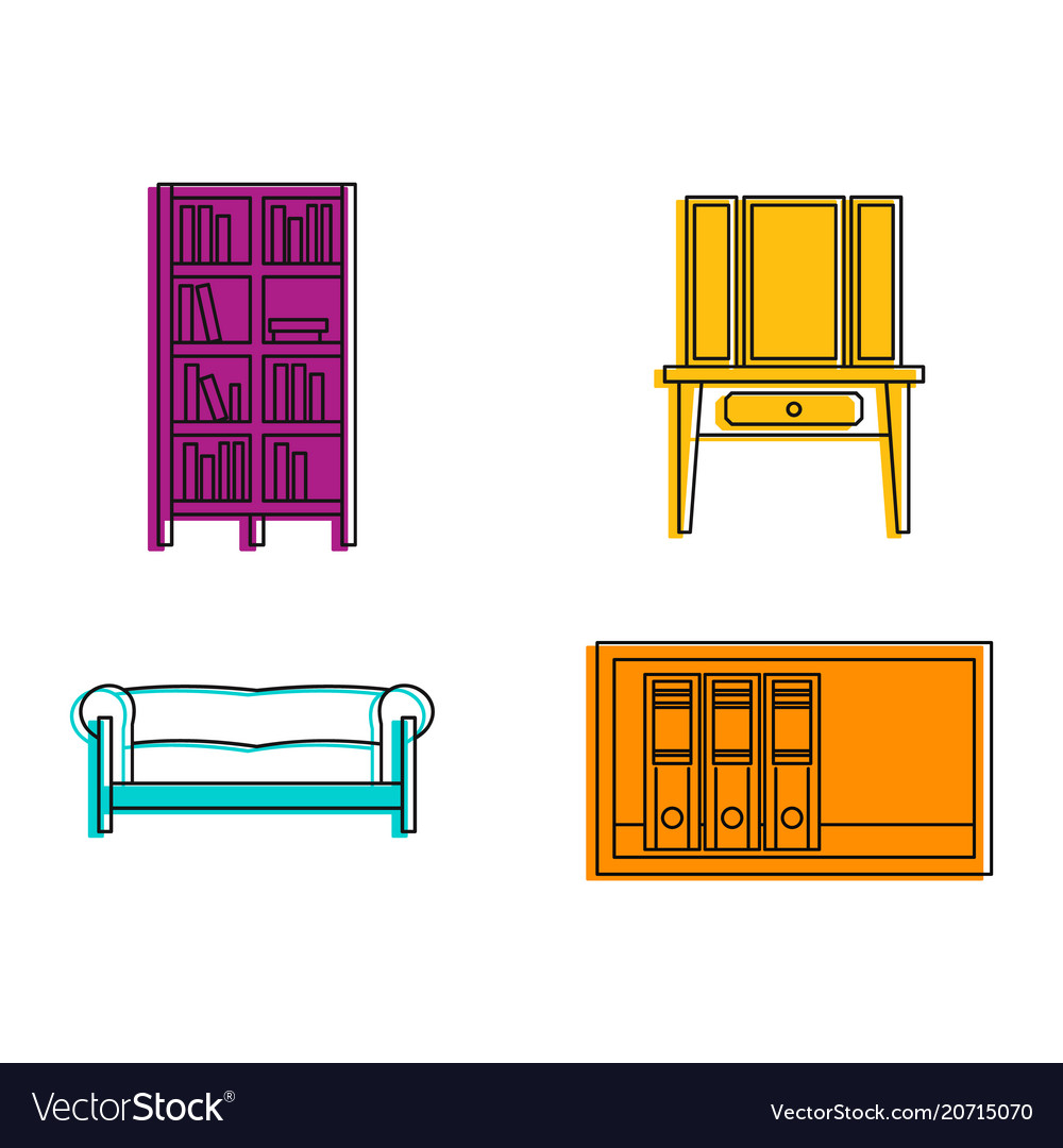 Furniture icon set color outline style