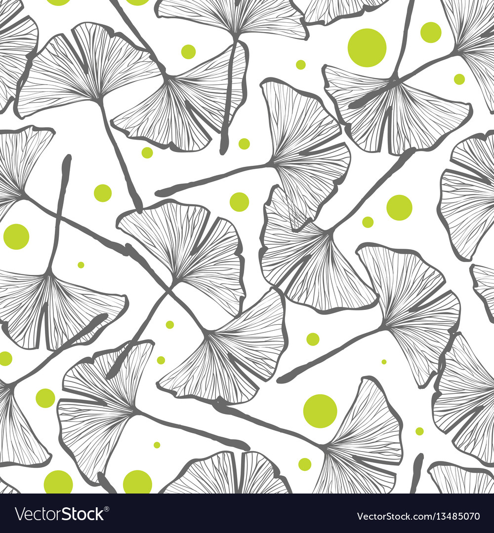 Gingko biloba seamless background pattern