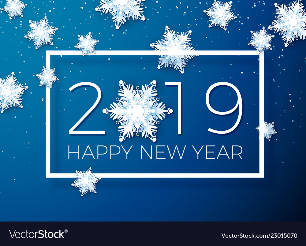 greeting card happy new year 2019 paper vector image
