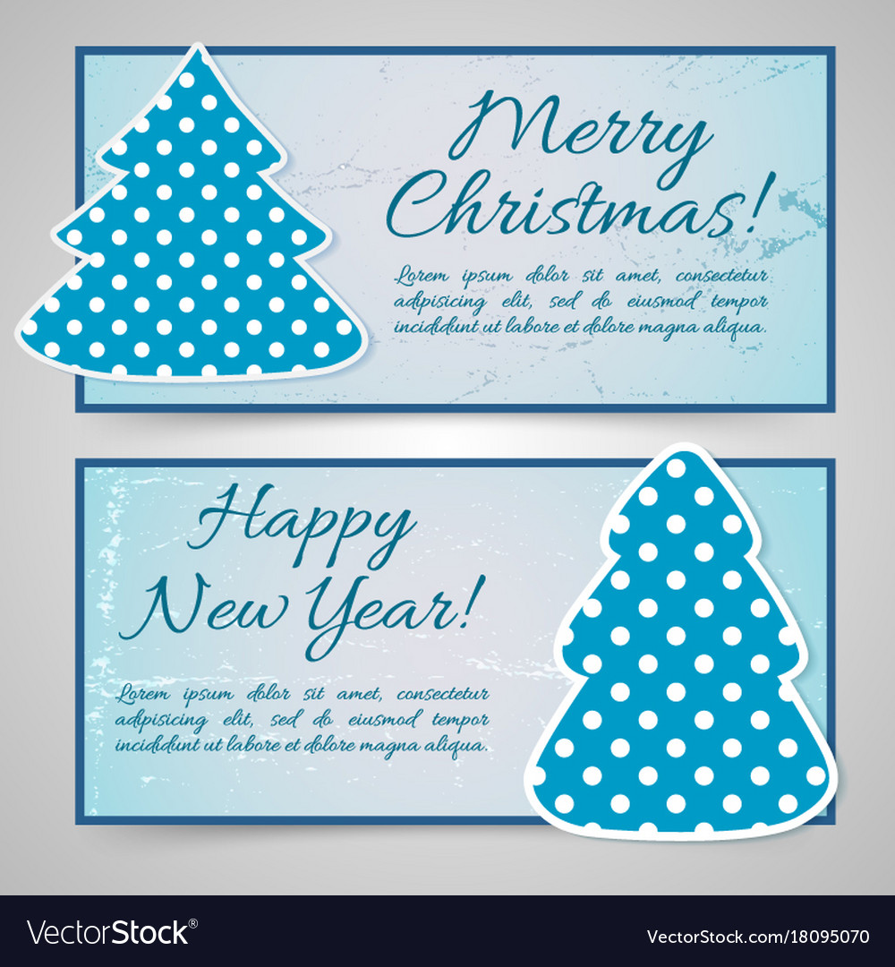 Happy new year and merry christmas banners