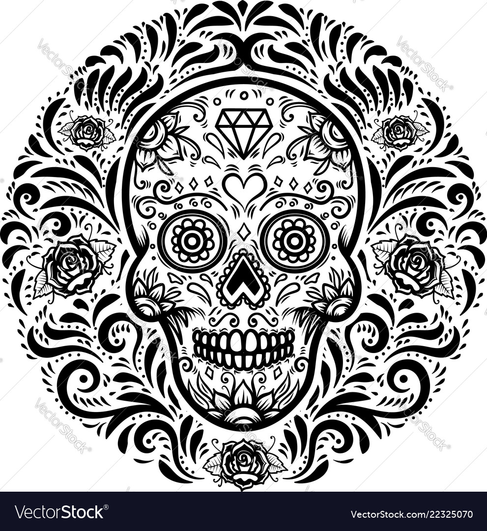 Mexican sugar skulls with floral pattern