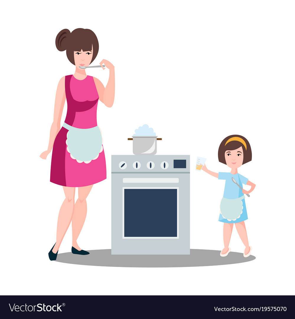 Mother with the daughter cook dough