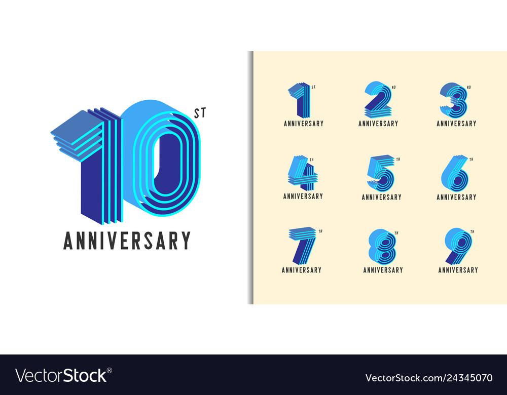 Set Of Anniversary Logotype Modern Colorful