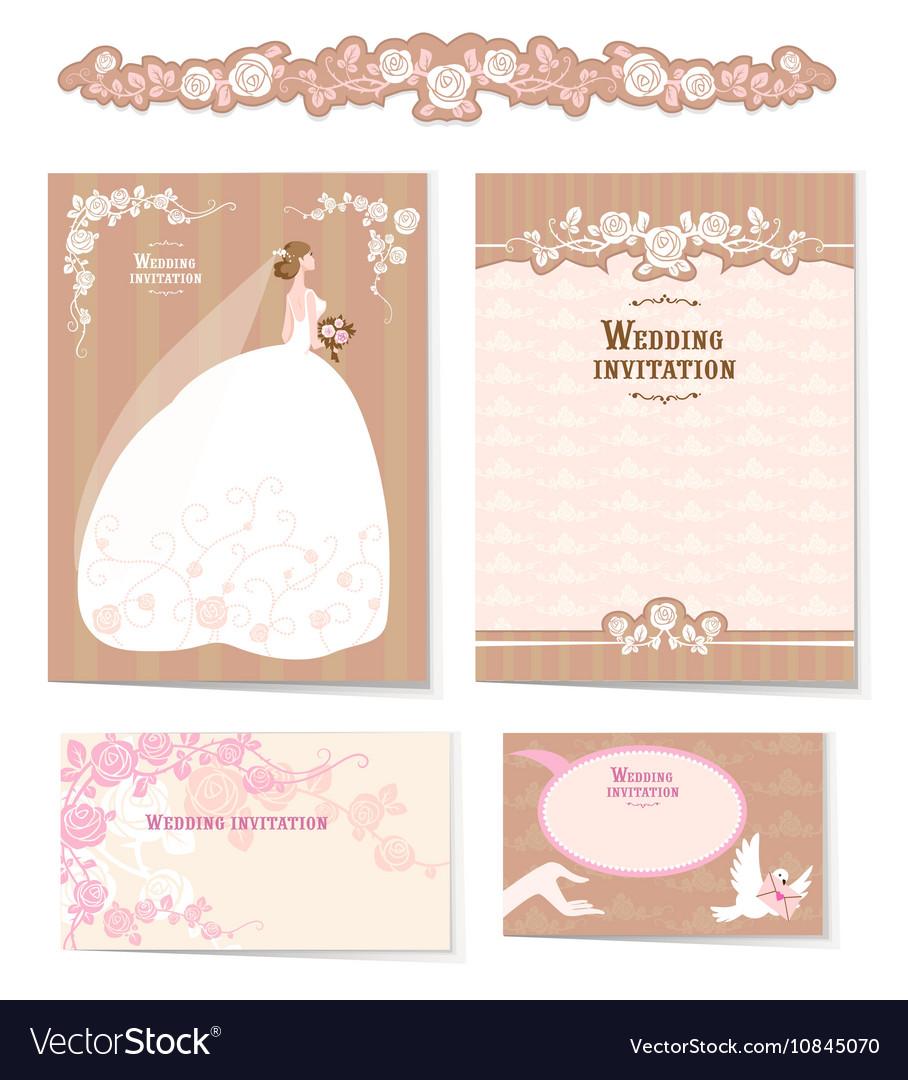 Set of wedding invitations
