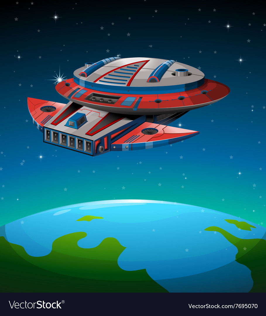 Spaceship flying over the world