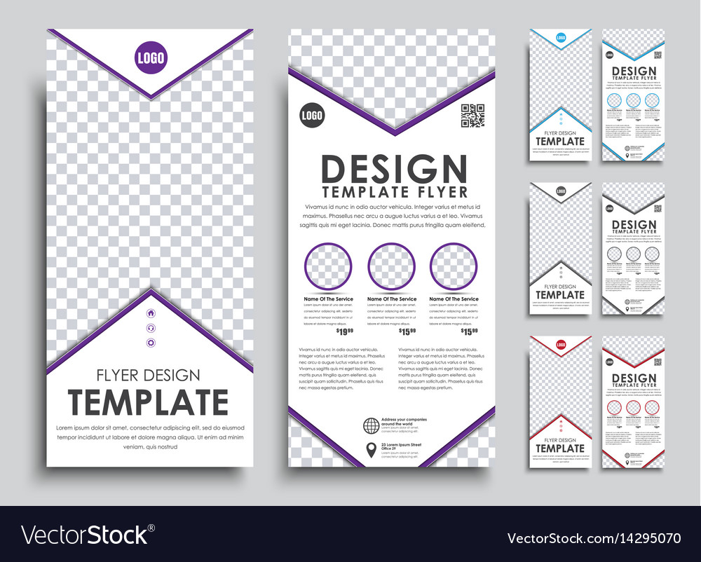template white flyer size of 210x99 mm royalty free vector