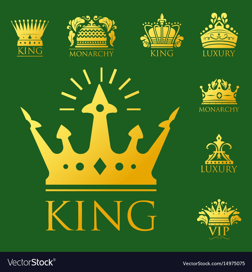 Crown king vintage premium golden badge heraldic