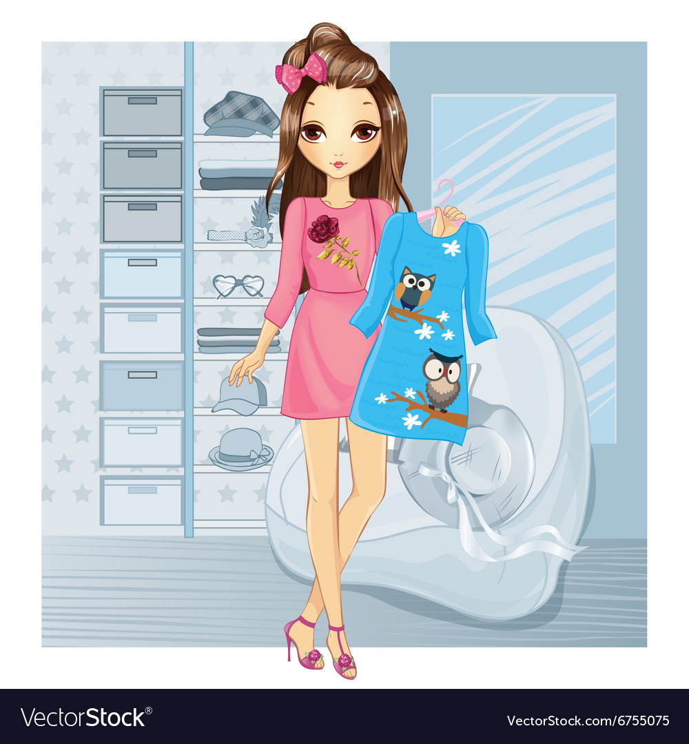Girl Holding Dress In Store vector image