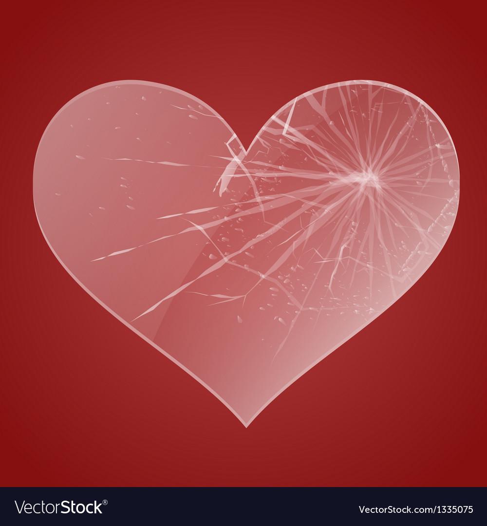 Glass broken heart vector image