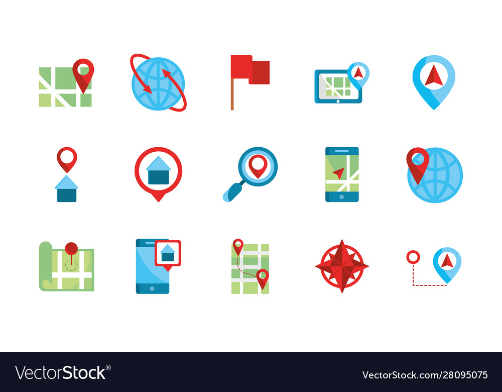 Gps map and navigation icons collection