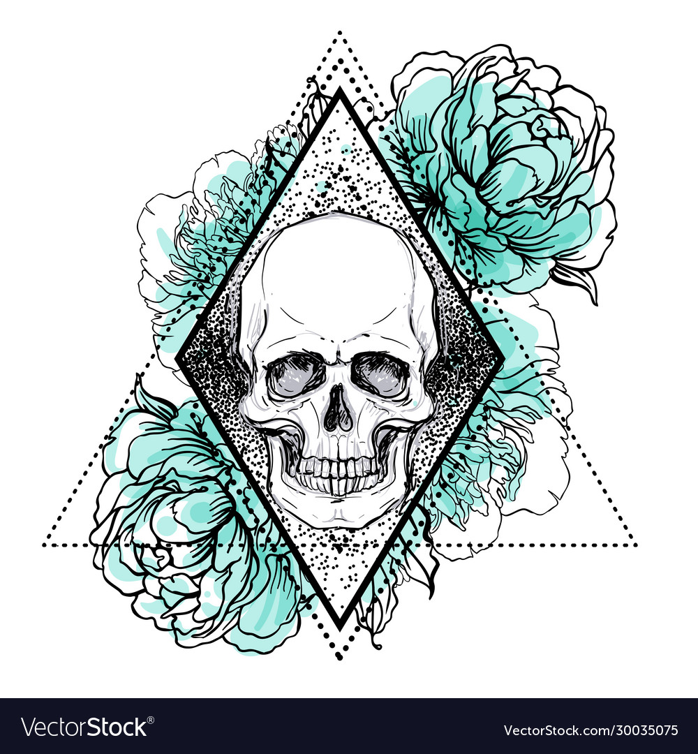 Human skull with peony rose and poppy flowers