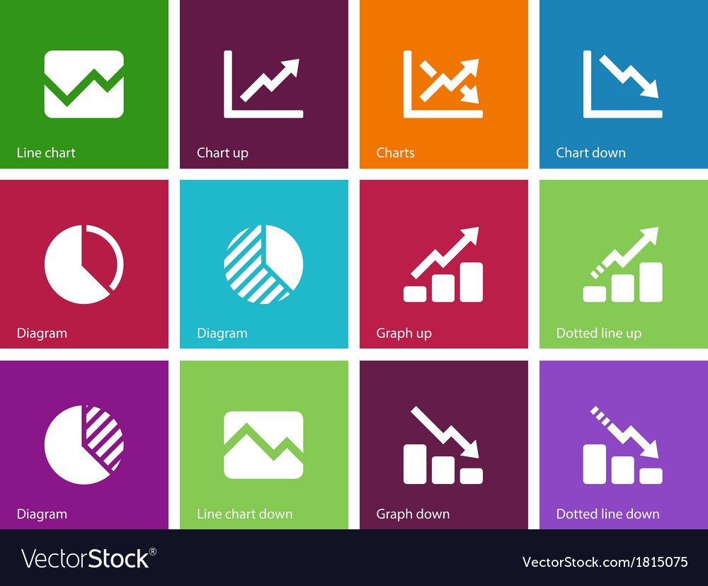 Line chart and Diagram icons on color background vector image