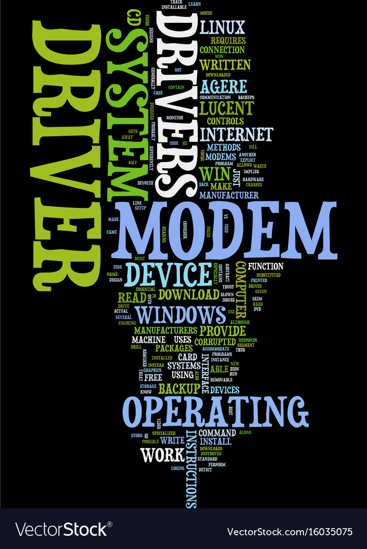 Modem driver text background word cloud concept