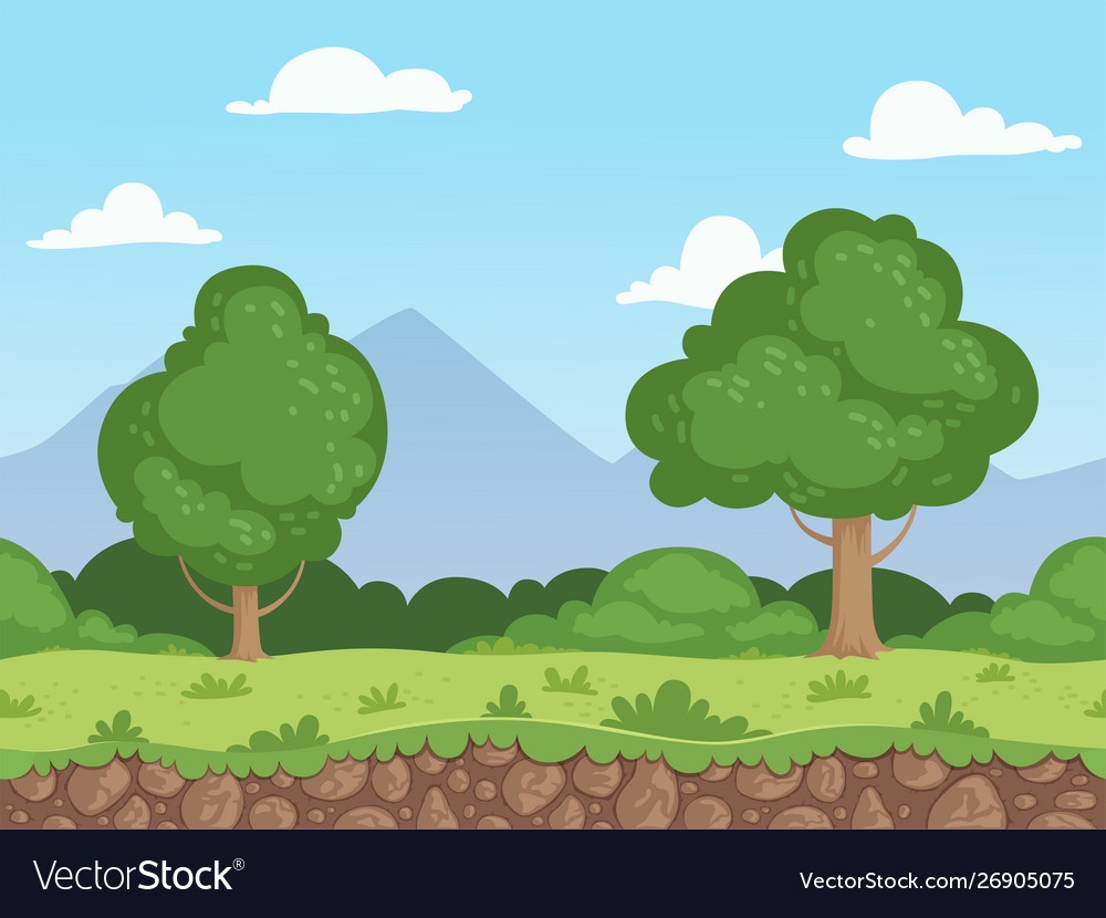 Seamless cartoon landscape parallax nature