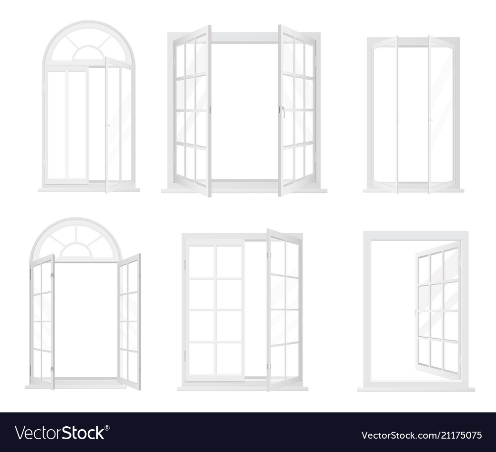 Set of white realistic windows isolated