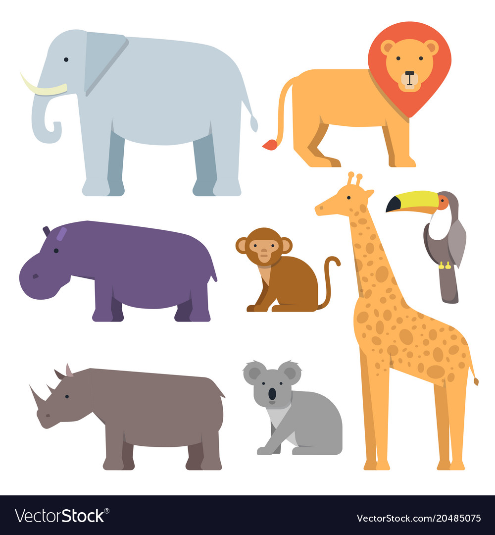 Wild animals in flat style pictures