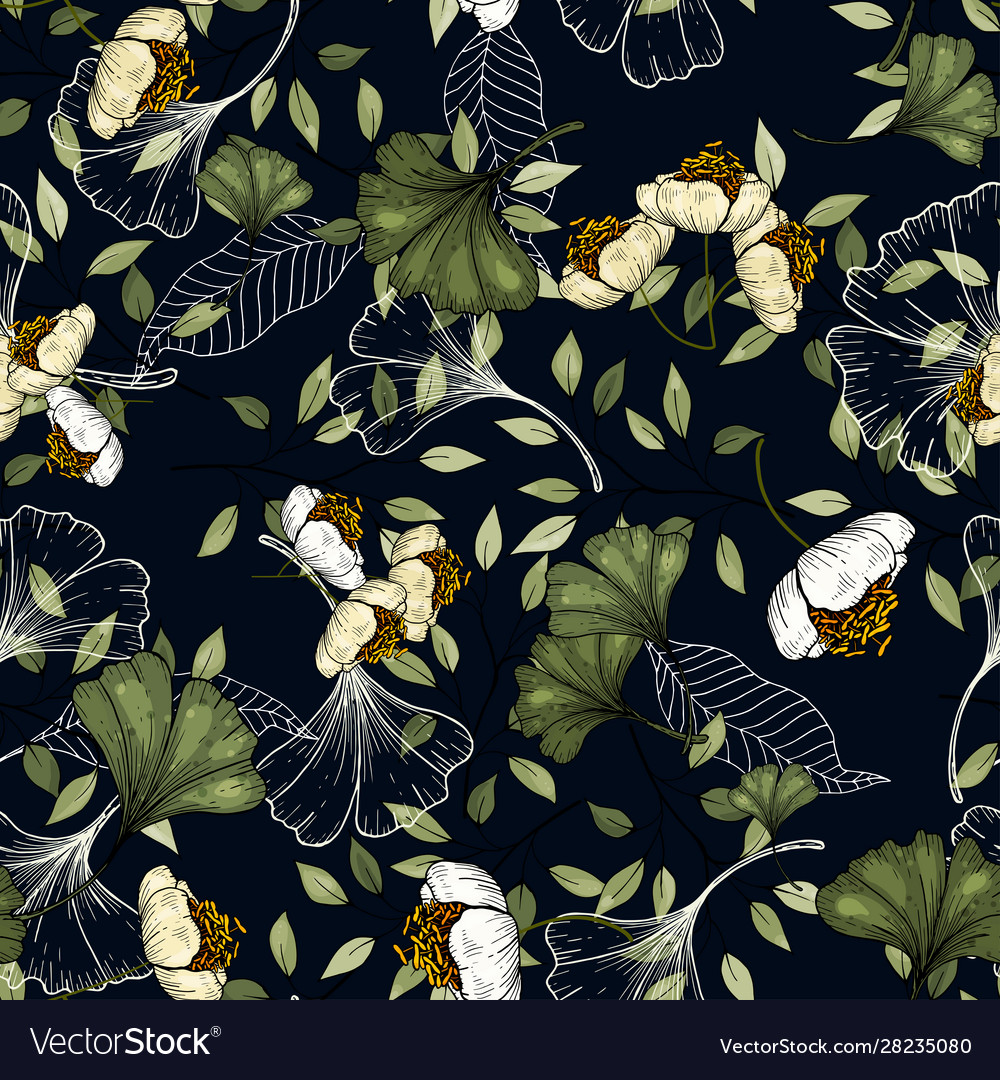 Botanical Hipster Rustic Seamless Print For Vector Image