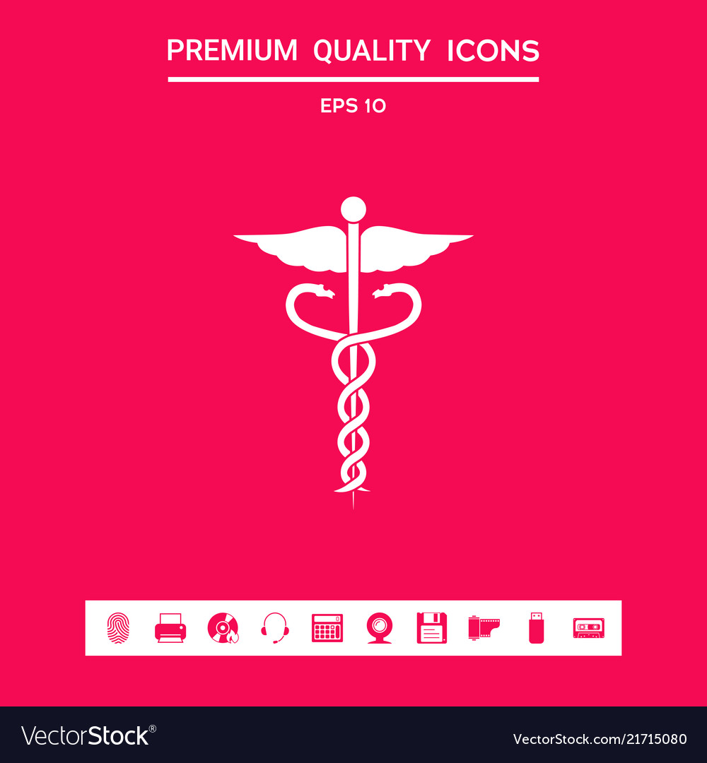 Caduceus Medical Symbol Graphic Elements For Vector Image