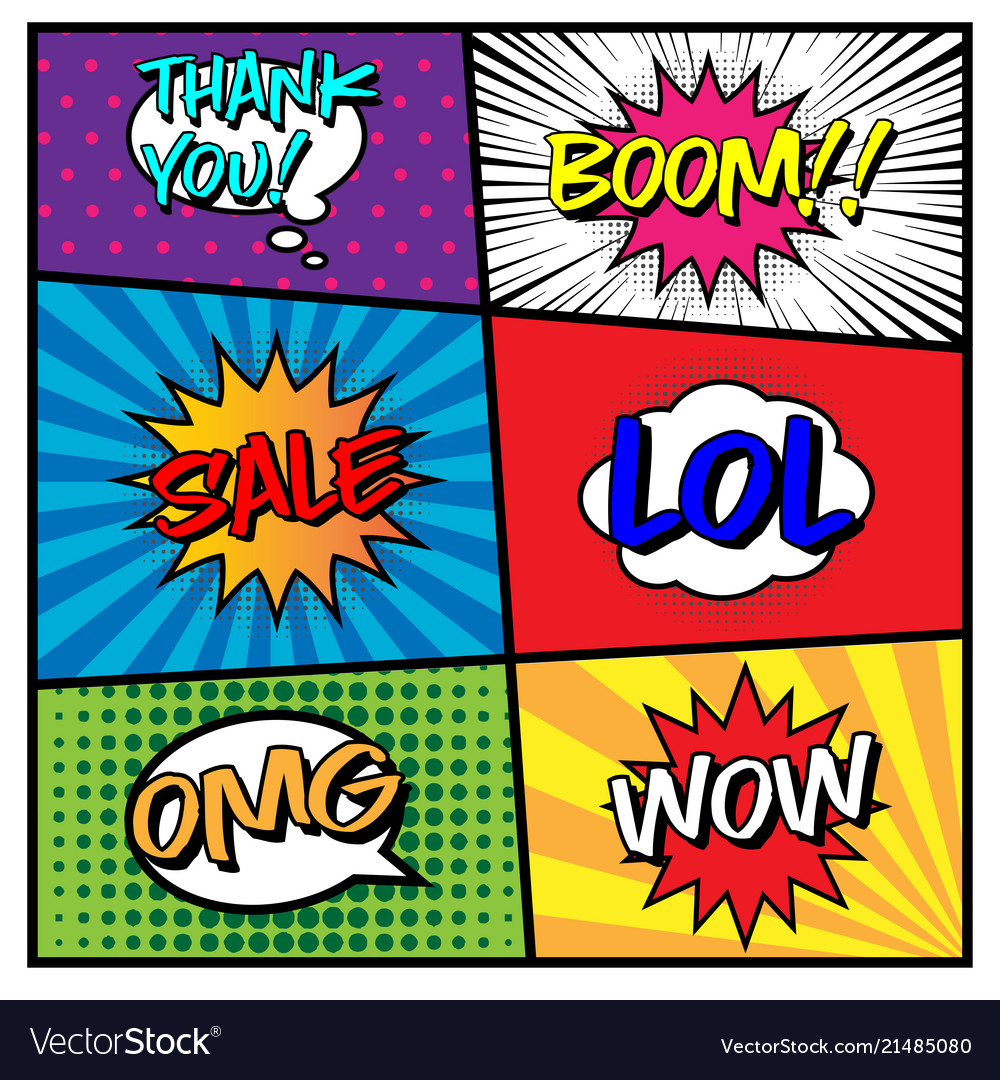 Comic speech bubble set with different expression