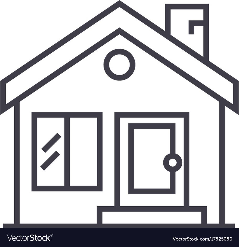 Cottage chimneyreal estate line icon