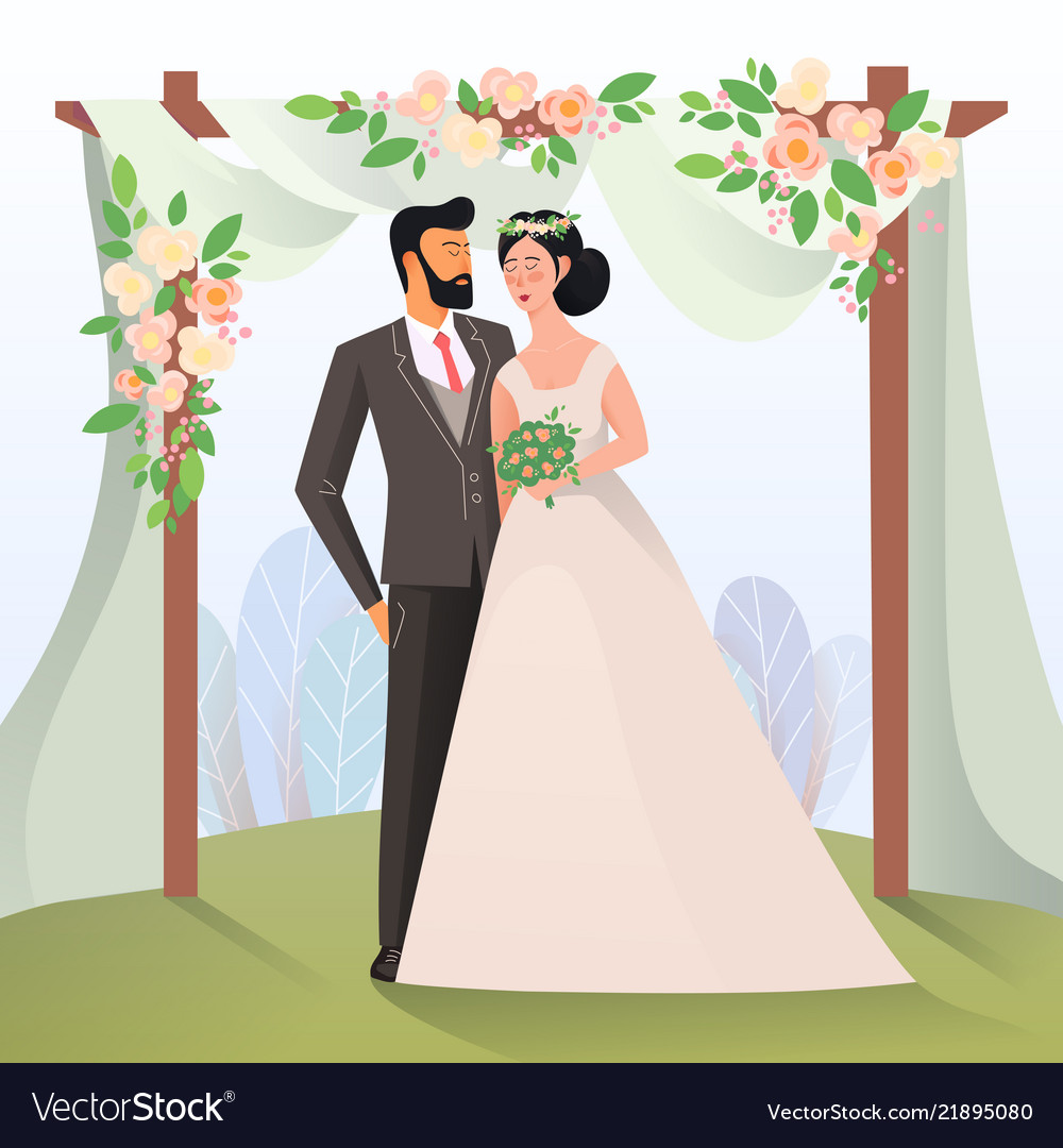 Couple of mature man and woman having wedding