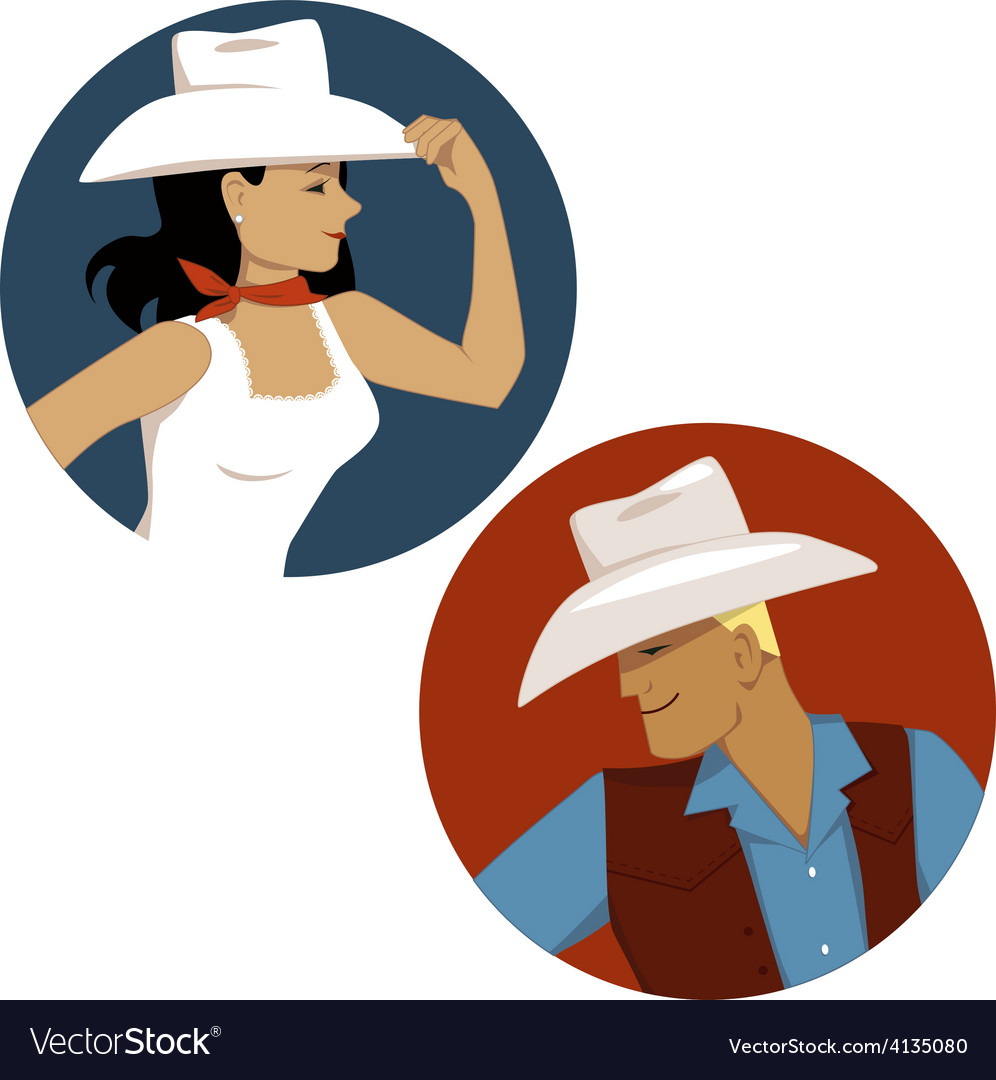 Cowgirl and cowboy round portrait badges