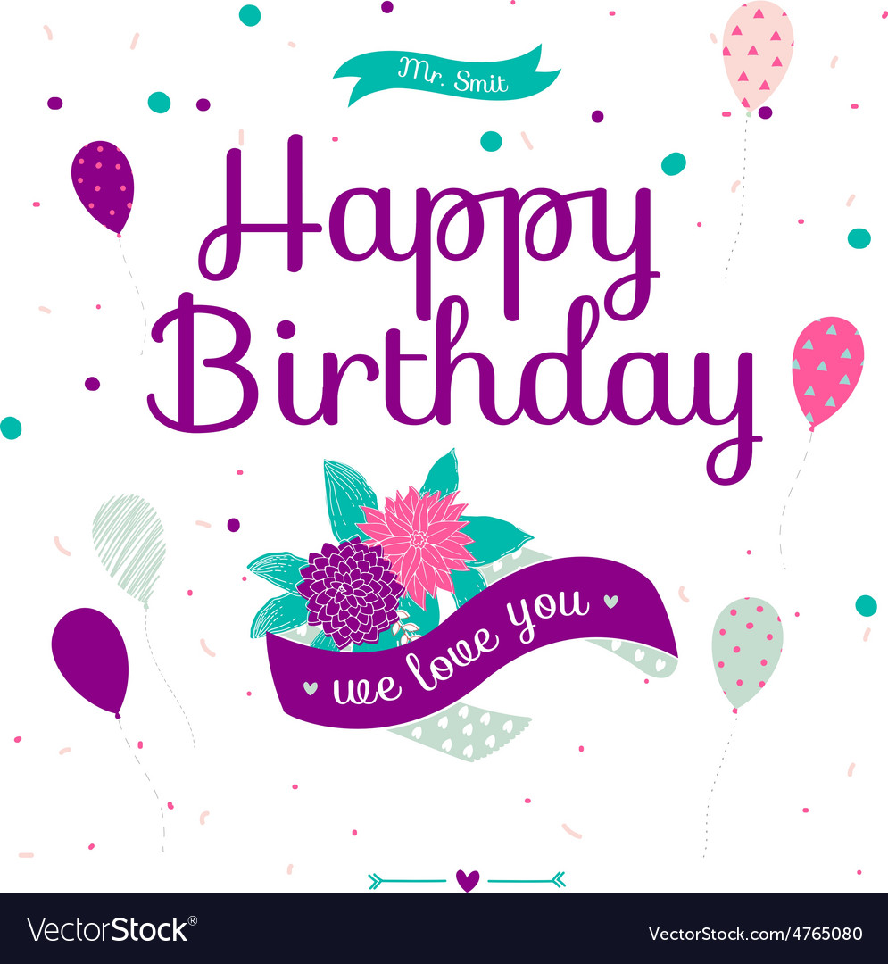 Cute romantic and lovely happy birthday card Vector Image