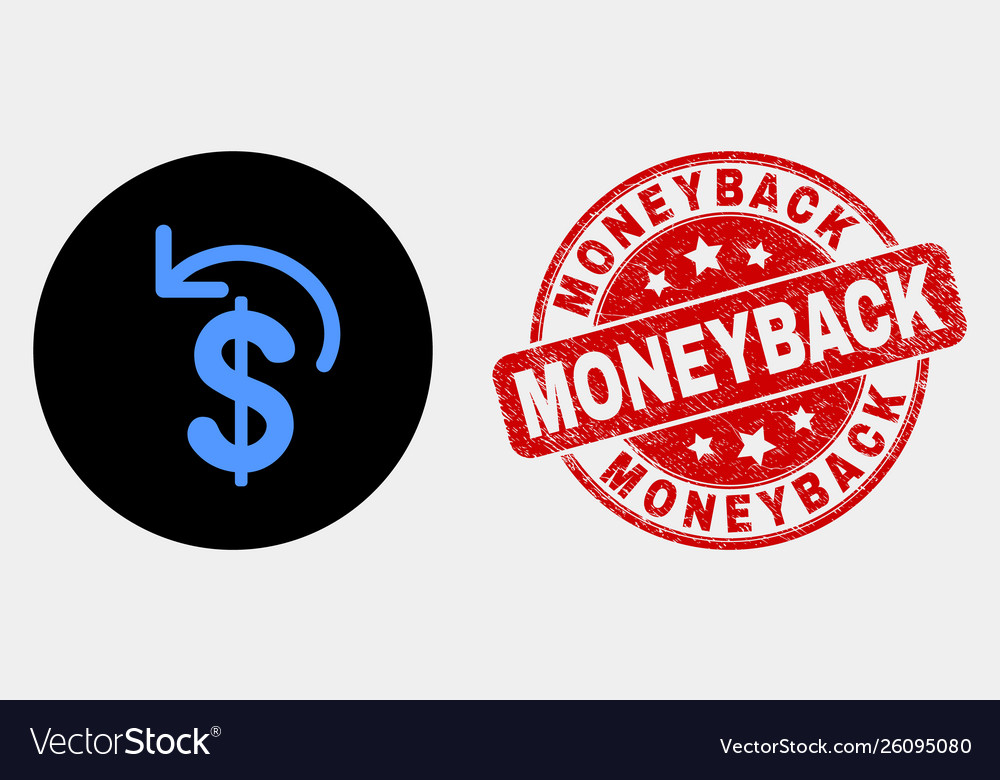 Dollar refund icon and scratched moneyback