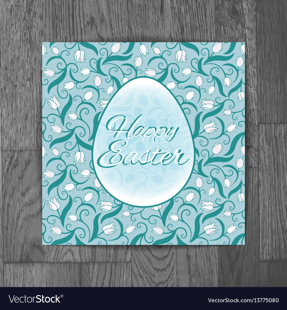 Easter greeting card with white tulips on wooden