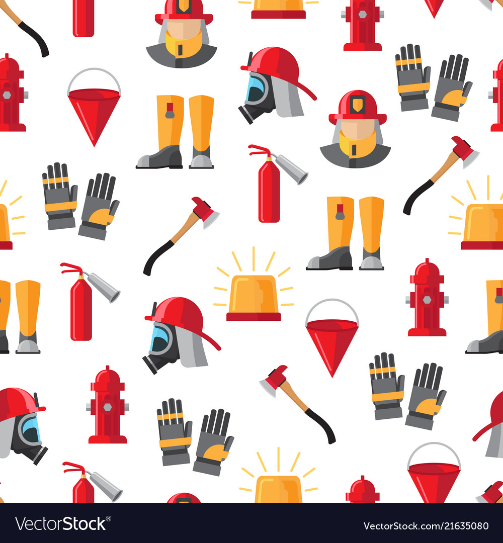 Firefighter icons seamless pattern