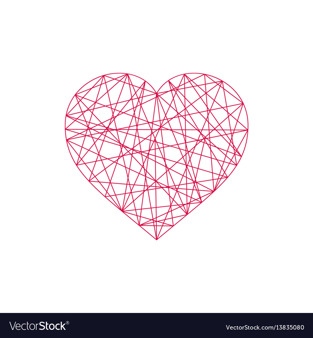 Geometric abstract linear heart icon