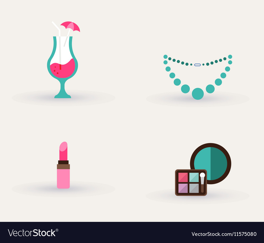 Girls accessories makeup and jewelry vector image