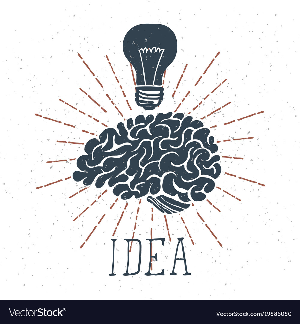 Hand drawn brain with idea lettering and light