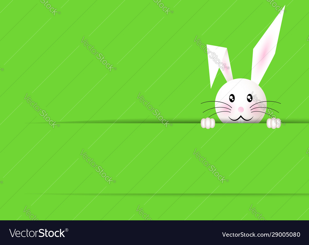Happy easter bunny green background and copy space