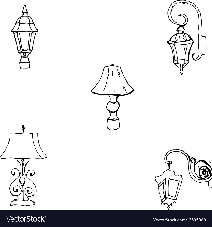 Lighting Sketch Hand Pencil Drawing Hand Vector Image