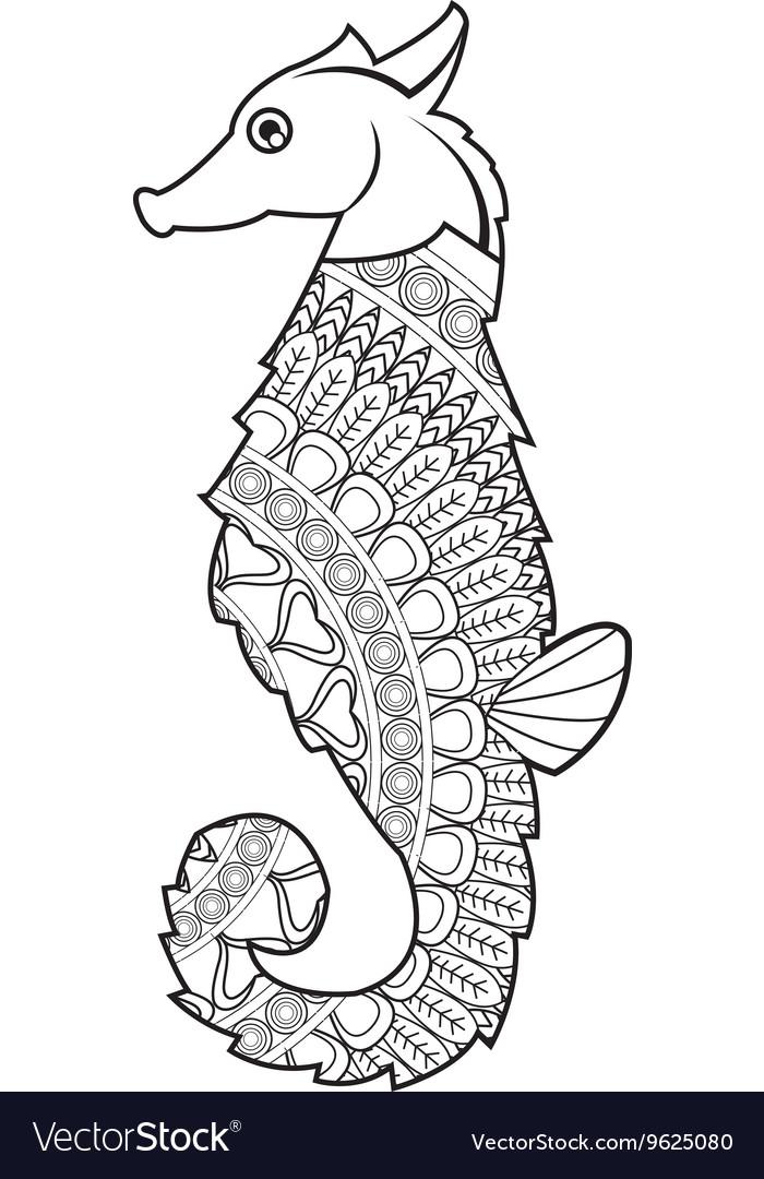 Mandala Seahorse Icon Royalty Free Vector Image
