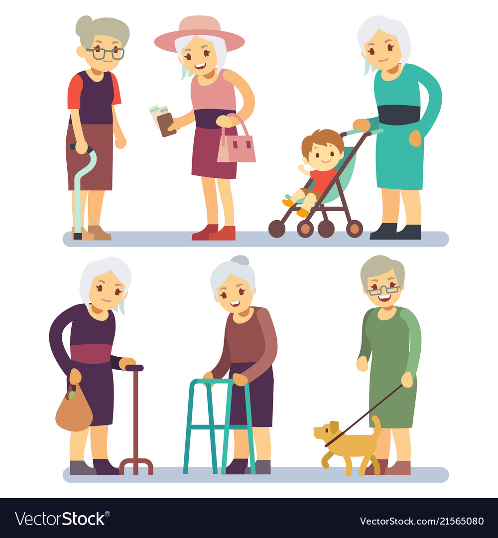 Old women cartoon character set senior ladies in
