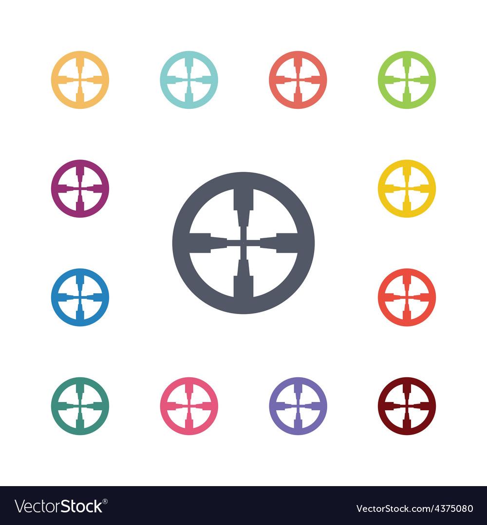 Optical sight flat icons set