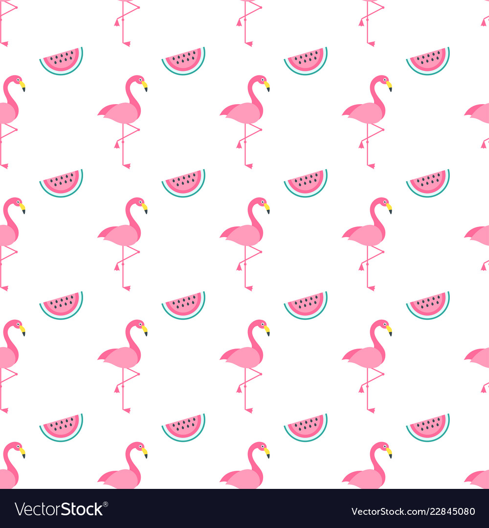 Seamless pattern with pink flamingo birds and